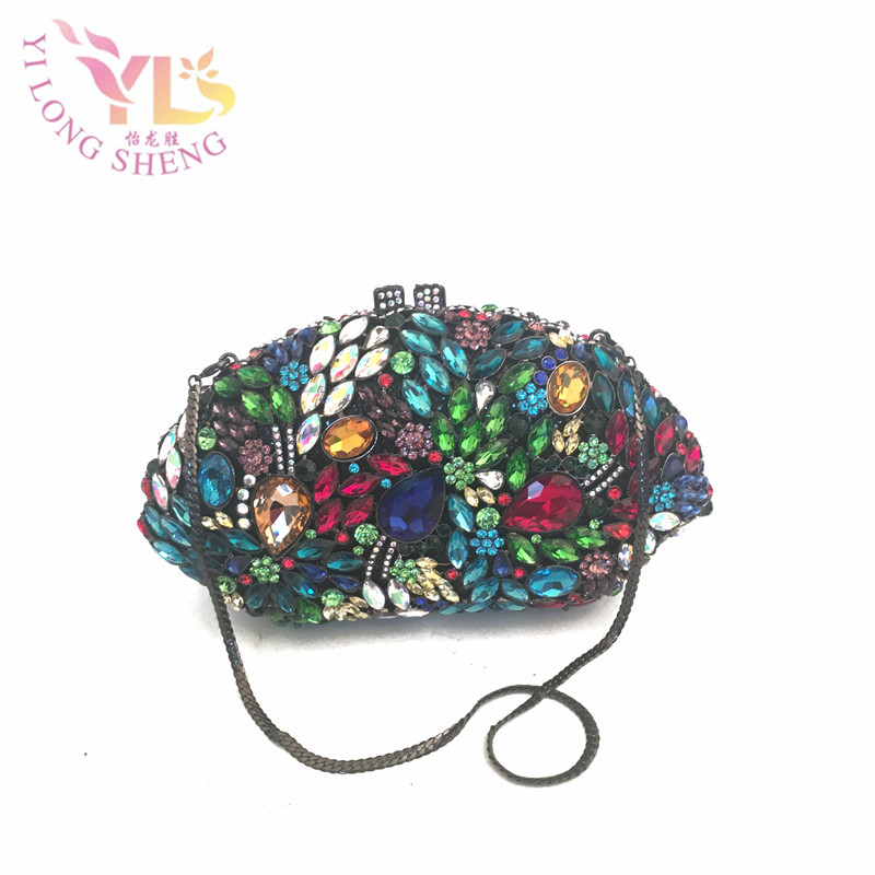 Women Vintage Evening Clutch Bags Handmade with Glass Stone in Multi Ladies Wedding Crystal Bags Evening Purse YLS-G57 lumi сумки на зиму