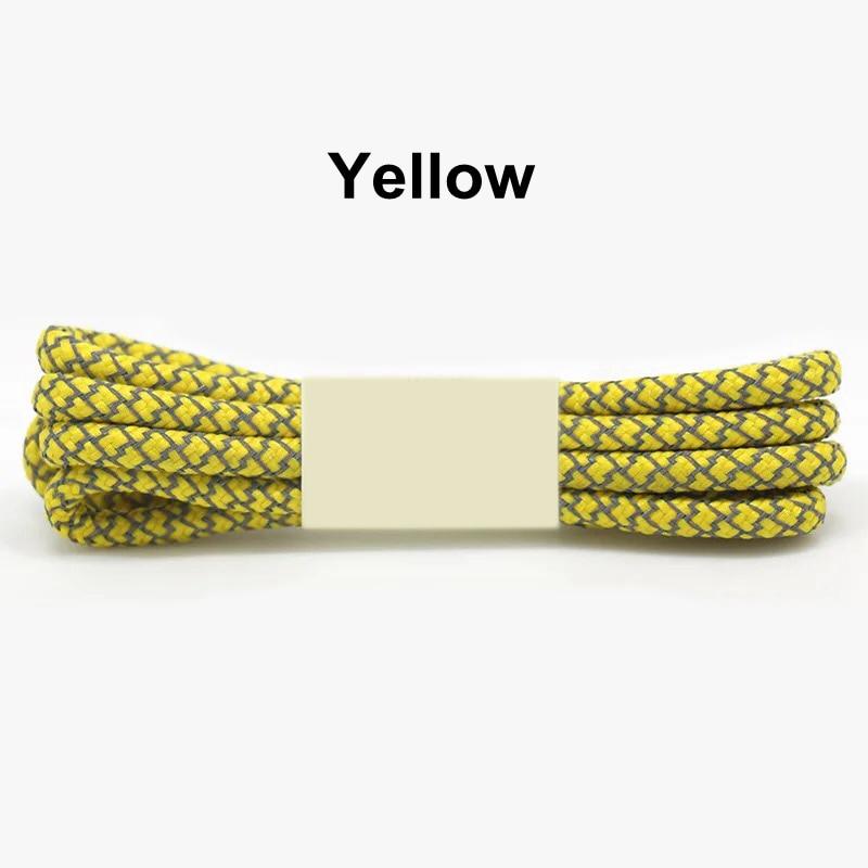 1 пара 100/120/140/160 см флуоресцентные кроссовки шнурков спортивные шнурки 3 м отражающий круглый обувь на шнуровке кружева светлые шнурки - Цвет: Yellow
