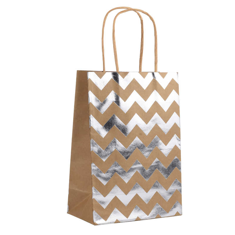 Golden Silver Kraft Party Paper Bags Hand Bag Candy Gift With Handles Package Wedding Decoration Event Supplies Decor