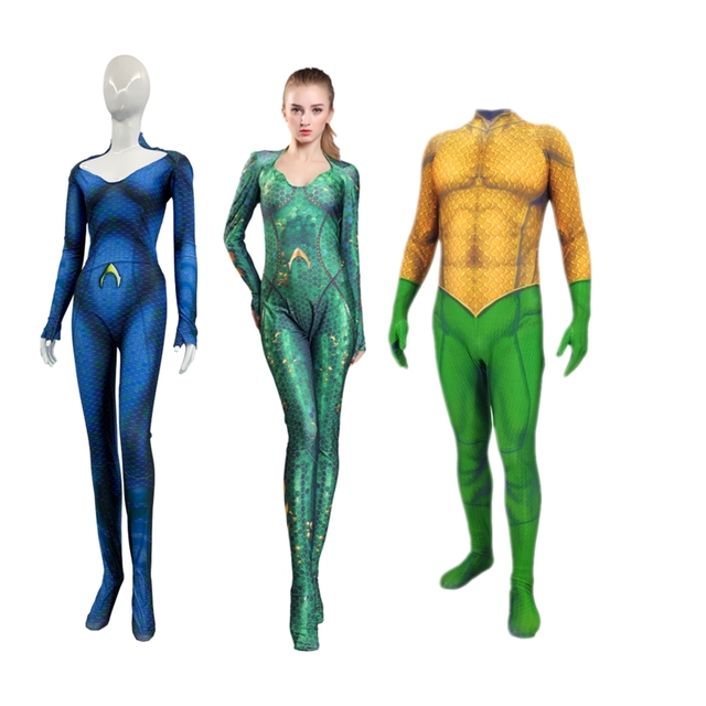 6fc9e7bd86ba Adult Kids Movie Aquaman Mera Queen Cosplay Costume Arthur Curry Zentai  Bodysuit Jumpsuits Halloween Party Suit