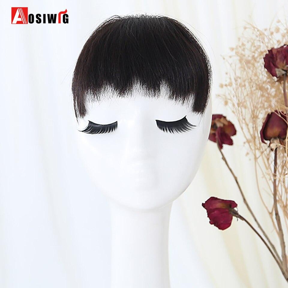 AOSIWIG Synthetic Bang Natural Black Fake Fringe Clip In Bangs Long Hair Extensions With High Temperature