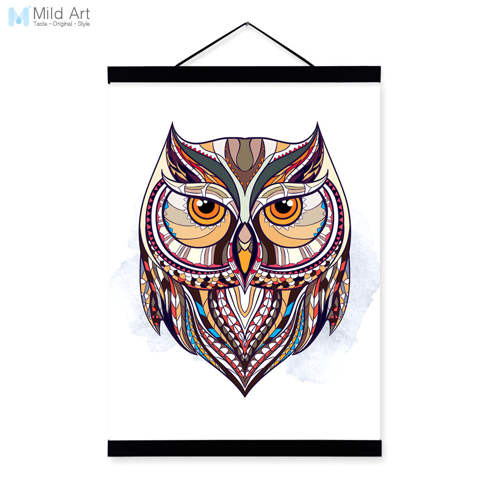 Modern Ancient <font><b>African</b></font> National Totem Animals Owl Head A4 Framed Canvas Painting Wall Art Prints Picture Poster <font><b>Home</b></font> <font><b>Decoration</b></font>
