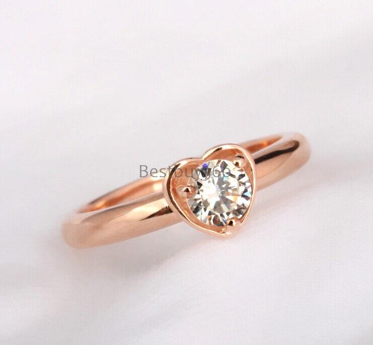 Argent pur 1 Carat 925 argent S925 bague en or Rose bague SONA Diamant synthétique S925 taille de bande personnalisable (JSA)