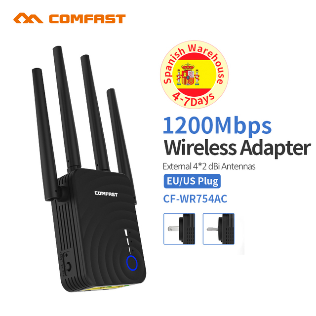 1200Mbps COMFAST Wireless WiFi Range Extender 2.4/5.8 GHz Dual Band Repeater Booster สัญญาณ Ethernet 4 เสาอากาศ Wi Fi amplifer AP