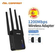 Extensor WiFi de rango inalámbrico COMFAST de 1200Mbps, repetidor de banda Dual de 2,4/5,8 Ghz, amplificador de señal, 4 antenas Ethernet, amplificador AP Wi fi