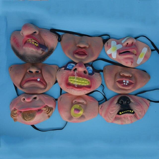 Big Teeth Latex Mask Horror Creepy Elastic Band Half Face Masks For Adults Kids Dress Up Props Masquerade Party  Halloween 2