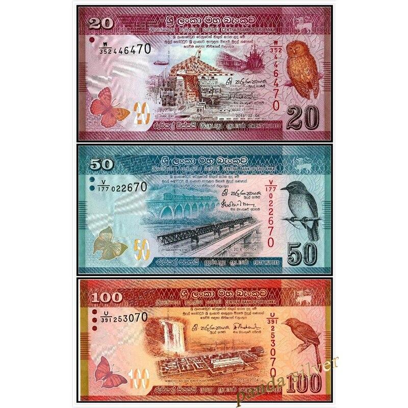 Sri Lanka Set 3 PCS ( 20 50 100 Rupees ) UNC original