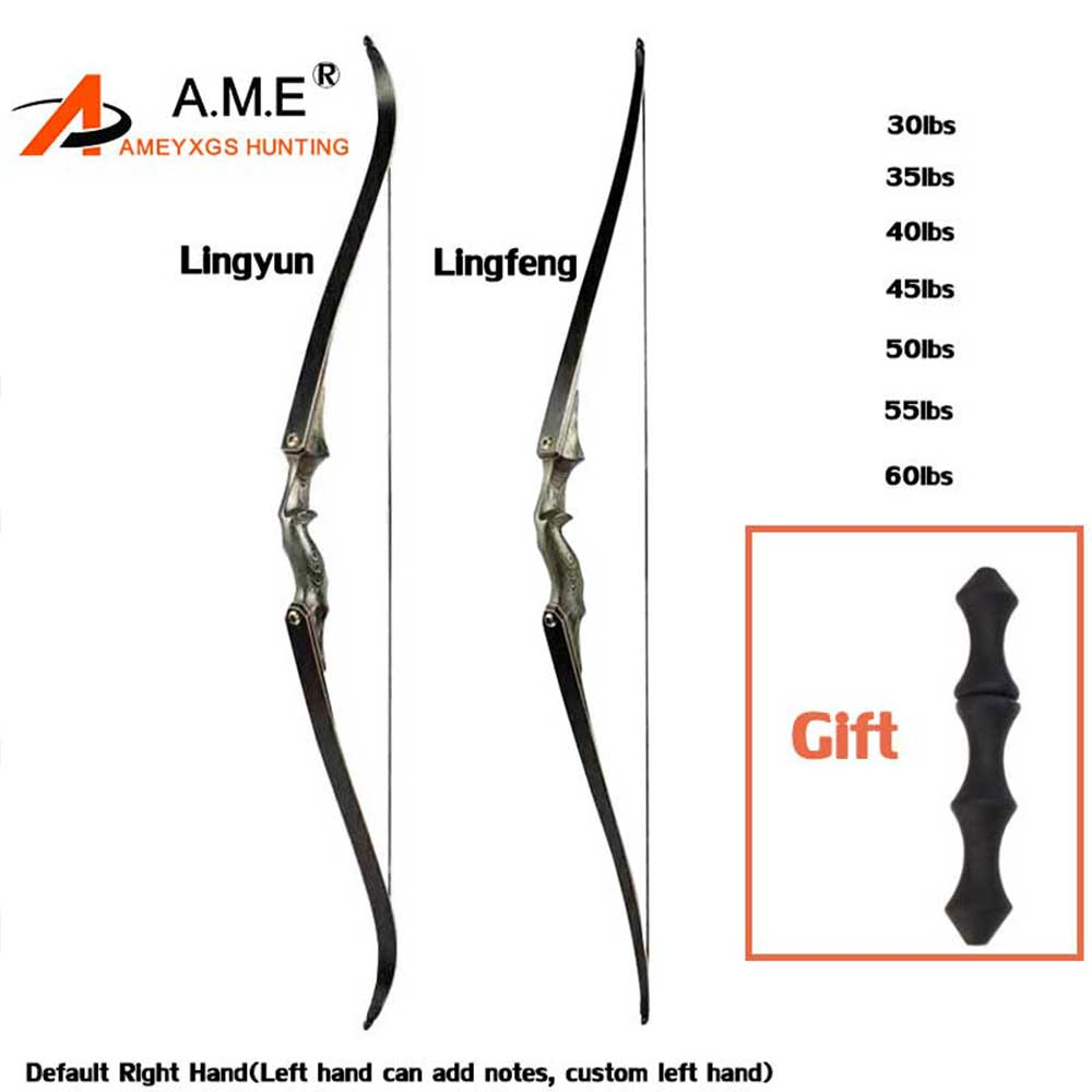 60inch American Hunting Bow Take Down Recurve Bow Right Hand Black Color Gift Arrow Rest 30-60bls Bamboo Limb Black Hunting
