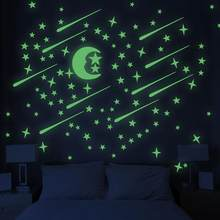 216pcs Stars Moon Luminous Good Night Noctilucence Wall Sticker Glow In Thd Dark Kids Rooms Home Decor DIY Art Decal A3(China)
