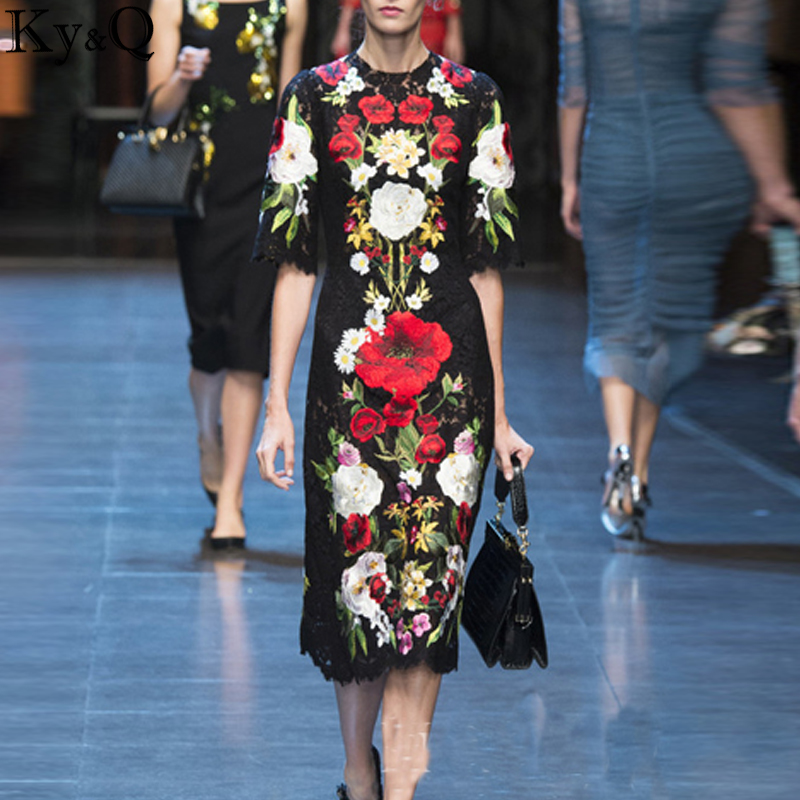 2018 Été Dentelle Noire Longue Robe Femmes Piste Designer Vêtements Floral Broderie Automne Parti Midi Robes Tunique plus la taille