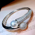 Designer Fashion 925 Sterling Silver Jewelry Platinum Plated 3A Cubic Zirconia Party Bangle