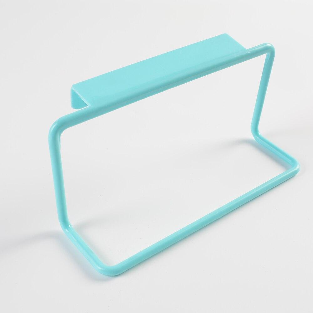 Hot sell 1Pc Over Door Tea Towel Holder Rack Rail Cupboard Hanger Bar Hook Bathroom Kitchen Top Home Organization Candy Colors