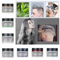 Mofajang 7 colors 120g Unisex Hair Color Wax Mud Hair Dye Hair Color Cream BLUE Burgundy Gray Hair Dye Wax Easy Wash Plants Dye