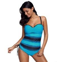 Купить с кэшбэком New Swimwear Women Swimsuit Push Up Tankini Set Vintage Retro Bandage Bathing Suit Beach Wear Plus Size Swimwear S~3XL