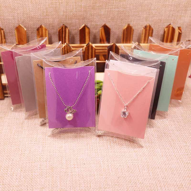 2018 NEW DIY 10x7x2cm Clear PVC Pillow Box For Candy Wedding Favor Package PVC Clear Pillow Pendant Card Jewelry Card Gift BOX
