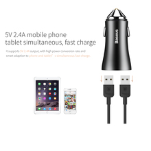 Dual Port USB Car Charger 2.4A Fast Charge Adapter Metal Mini