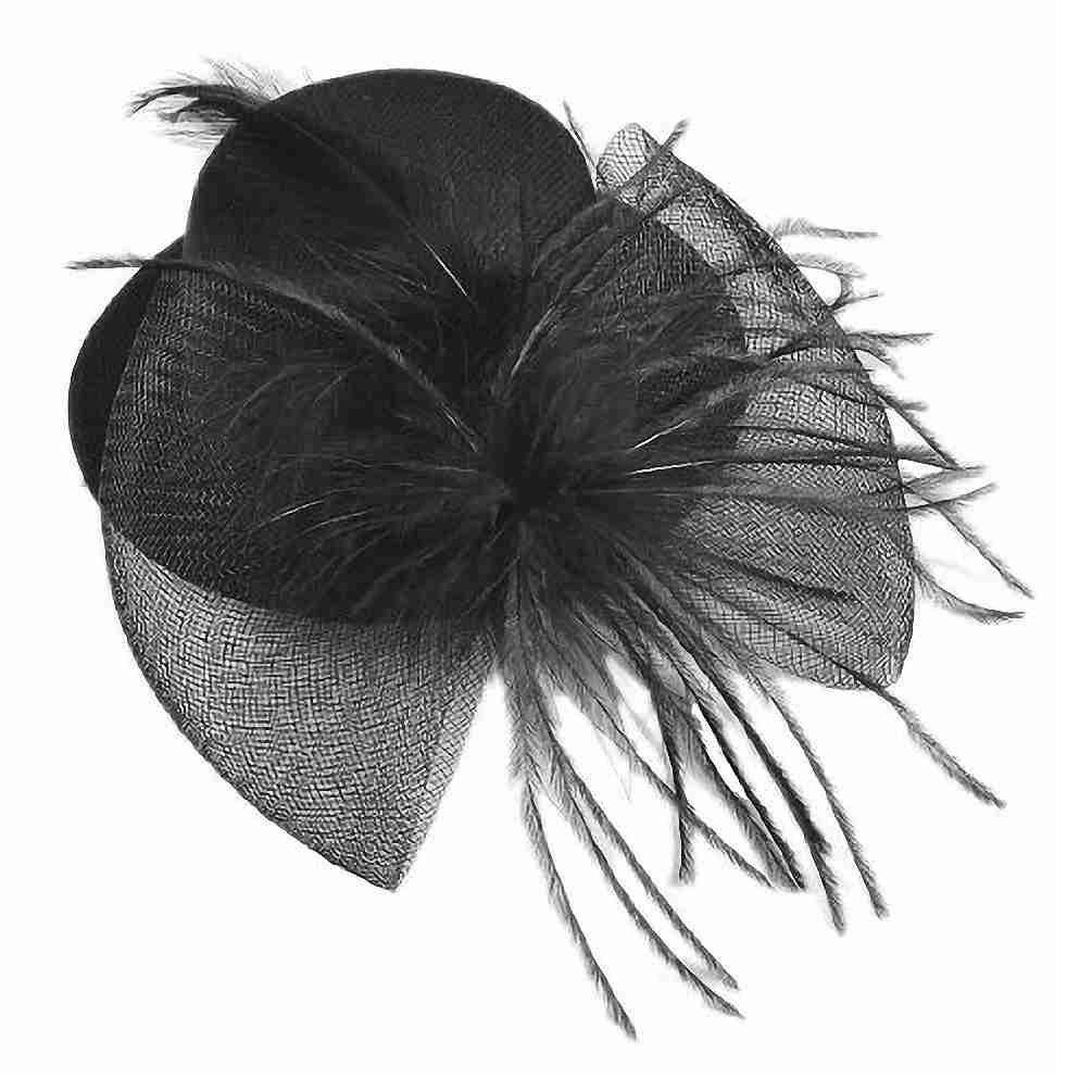 Best продажи черная сетка бантом перо декор Mini Top Hat Аллигатор зажим для волос