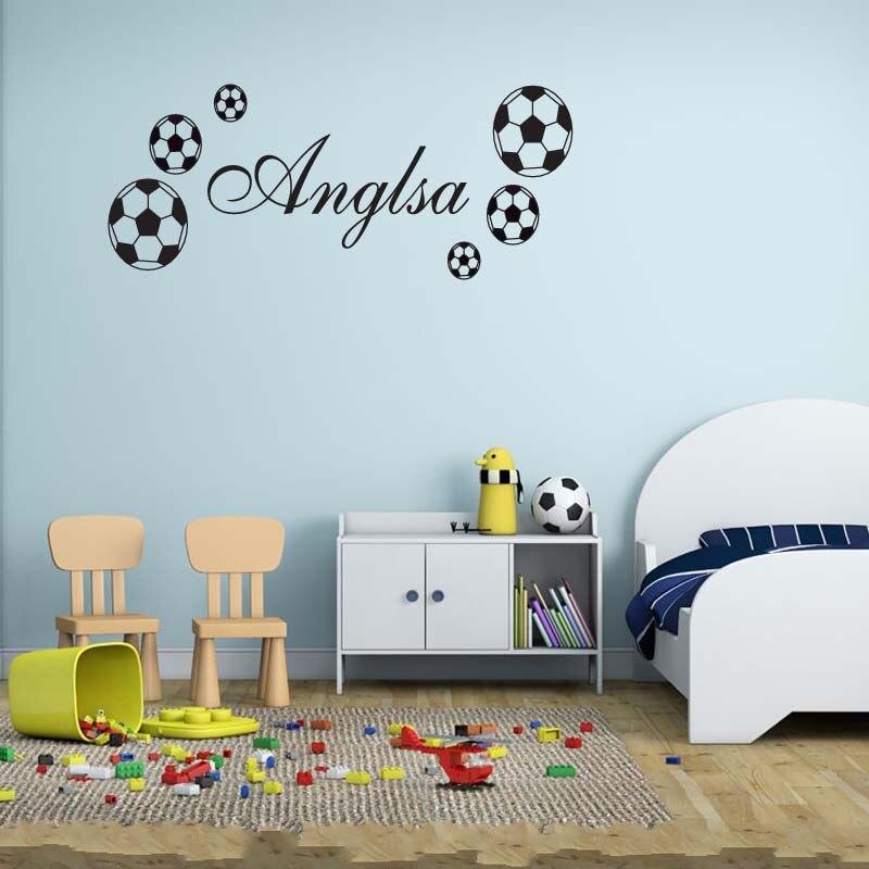 DIY FOOTBALL Wall Sticker Sports Boys Name Custom Bedroom Footballer Art  Vinyl Wall Sticker For Kids