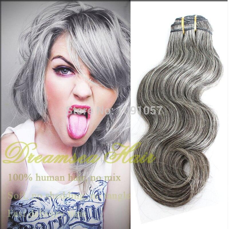 100 Human Brazilian Virgin Hair Extensions Gray Hair Piano Color