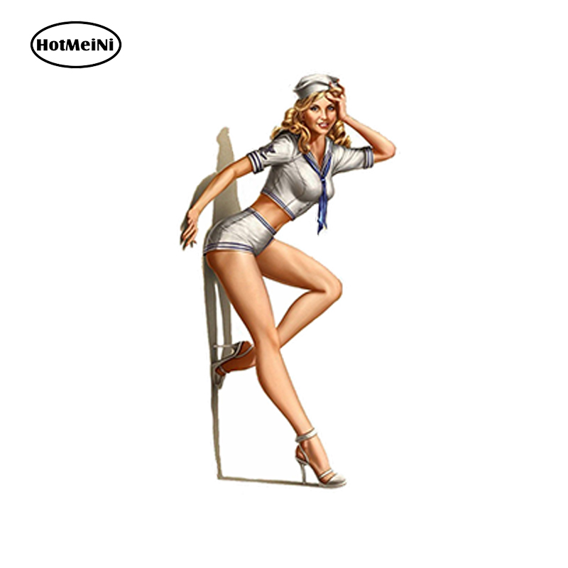 HotMeiNi <font><b>Car</b></font> StylingI <font><b>Car</b></font> Sticker Pin Up Girl Sticker Vintage <font><b>Sexy</b></font> Waterproof Bumper Accessories 12 x 6.5 cm image
