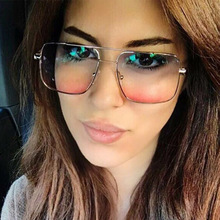 Gradient Square Blue Red Sunglasses Women Clear Glass 2019 Retro Frameless Sun Glasses for Women Brown Blue Uv400