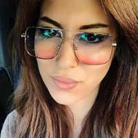Gradientu kwadratowy niebieski czerwony okulary kobiety przezroczystego szkła 2019 Retro bezramowe okulary dla kobiet brązowy niebieski Uv400