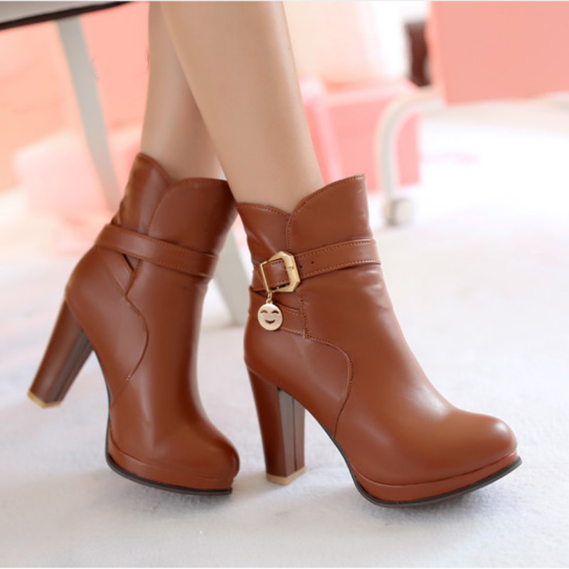 Womens Fashion Buckle Chunky Heel Ankle Boots Round Toe High Heels Boots Shoes Plus Size Black Beige Brown Drop Shipping 2015 hottest drop shipping vintage round toe strappy zip knee high boots studs chunky heel leather boots women high heels j459