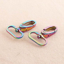 6pcs/lot Rainbow Color Alloy Swivel Snap Hooks Lobster Clasp buckles for webbing Backpack Accessories