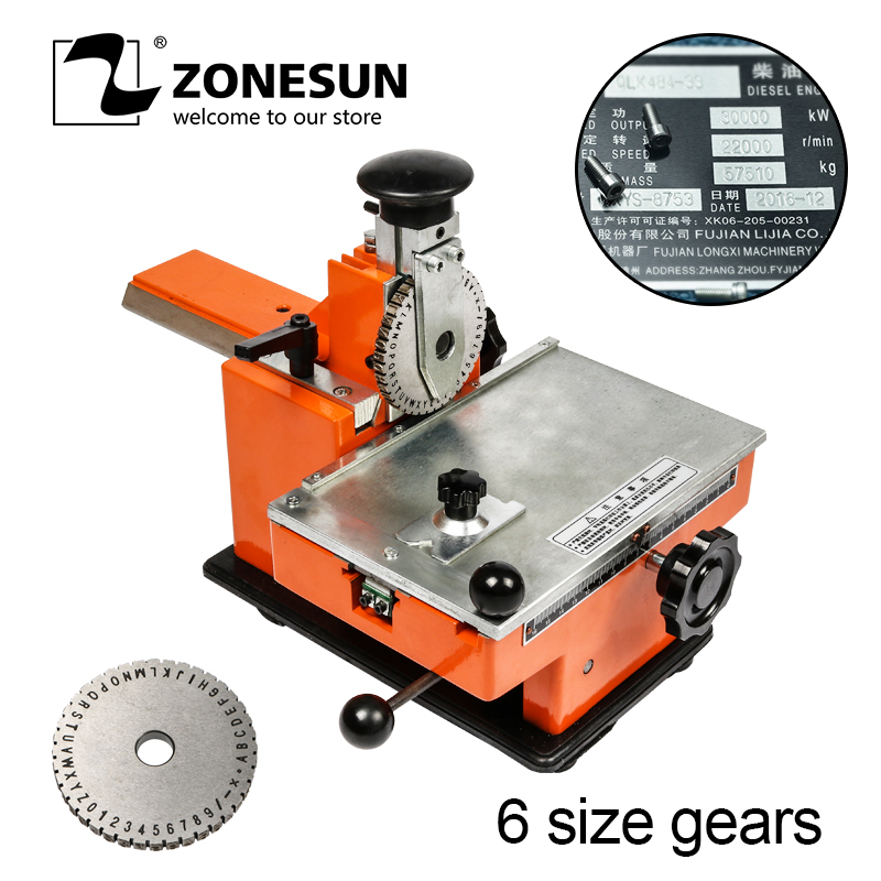 ZONESUN Embossing Machine ZX-360 Metal Sheet Manual Steel  Aluminum Alloy Name Plate Stamping Machine Label Engrave Tool