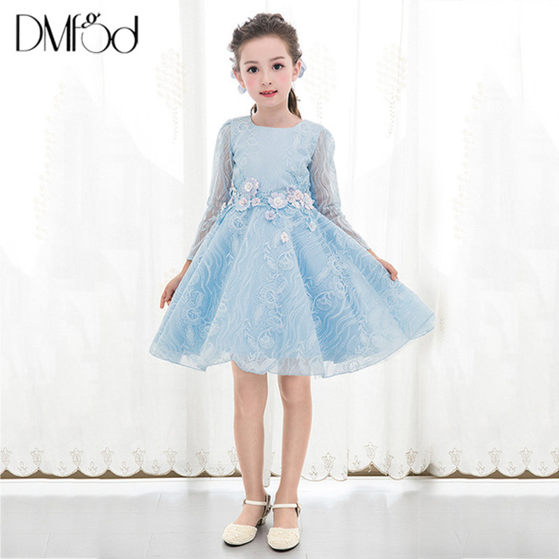 Hot Fashion Girls Dresses New Long-Sleeved Children Birthday Party Princess Dress Blue Evening Formal Dresses Girls Clothes 9682 long criss cross open back formal party dress