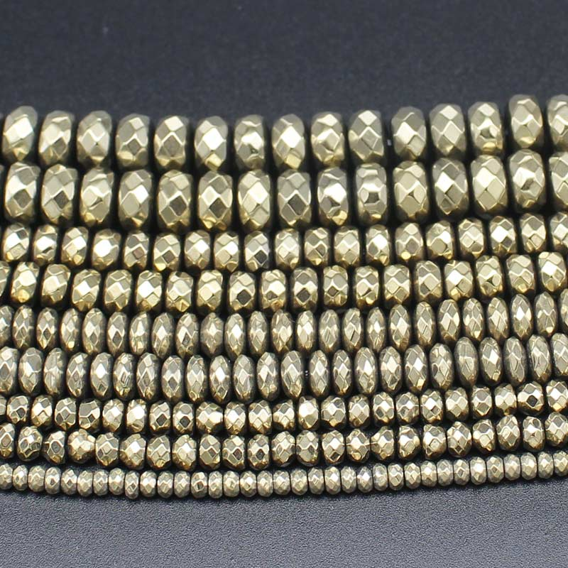 Hematite Plated Pyrite Faceted Rondelle Beads 15inch per strand, DIY Jewelry Making !We  ...