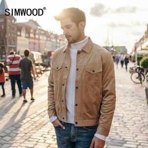 Image 3 - SIMWOOD Smooth Suede camionero Chaqueta Hombre 2019 otoño ropa de trabajo clásica Look moda occidental abrigos Slim Fit ropa de