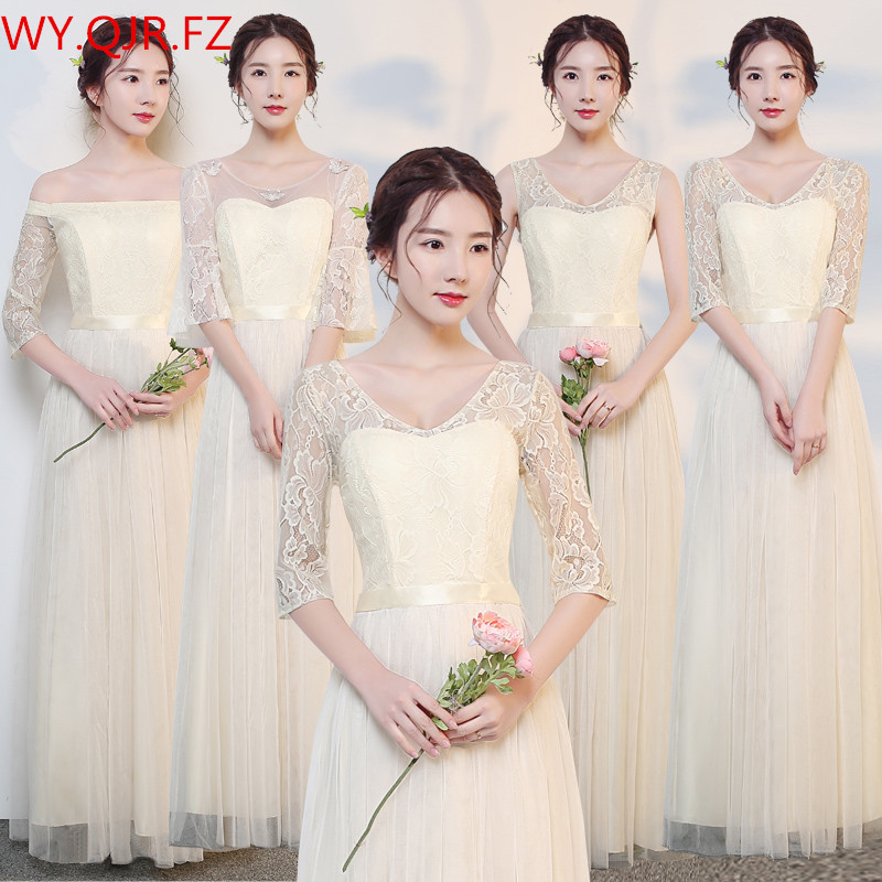 JYLF43D#Champagne long elastic waist   Bridesmaid     Dresses   wedding party prom   dress   2018 sister group wholesale women clothing