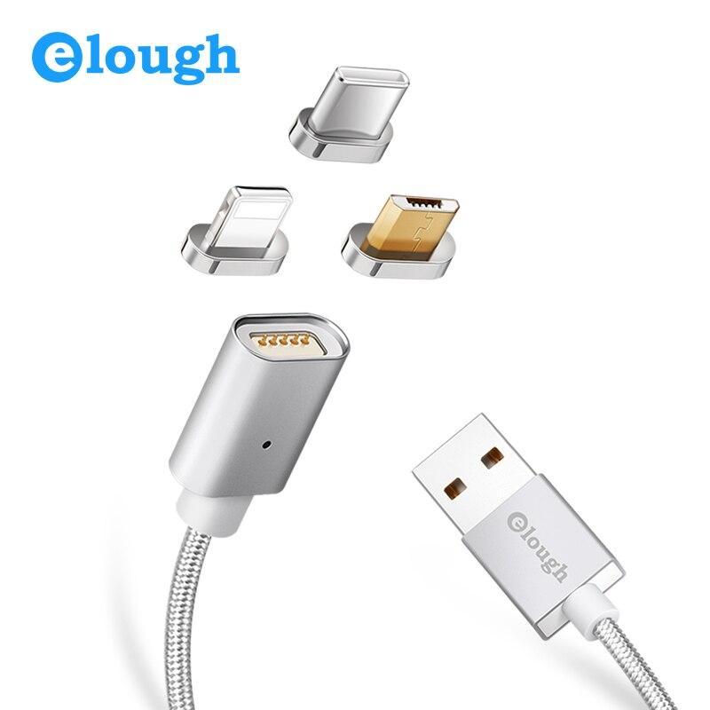 Elough E04 Cavo Magnetica Per iPhone Samsung Xiaomi Ricarica Veloce Caricatore magnete Micro USB di Tipo C per Fulmini Telefono USB cavo