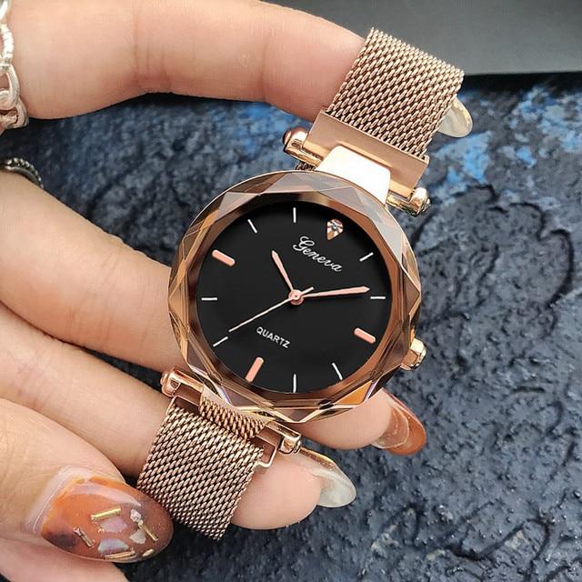 Luxury Rose Gold Women Watches Crystal Female Stainless Steel Mesh Quartz Wrist