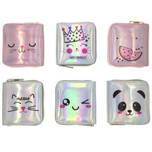 KANDRA Cute Cartoon Silver&Pink Holographic Laser Short Wallet Women Shiny Pu Leather Small Clutch Holiday Bag for Girls