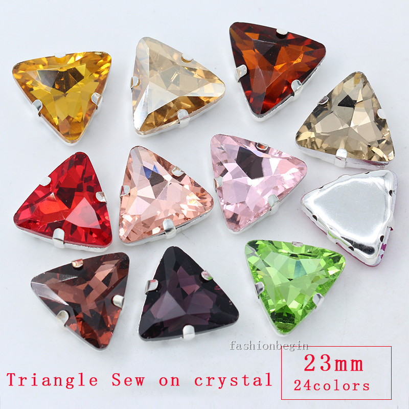 12p 23mm triangle color sew on crystal glass claw rhinestones silver base  jewels crafts DIY shoes clothes Decoration loose Beads 3331d28bb2c1