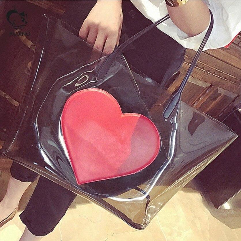 Kujing модный бренд Сумки Премиум прозрачный Для женщин сумки пляжные пакет Дешевые Роскошные отдыха и путешествий Для женщин сумка
