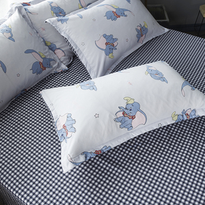 Image 4 - Cartoon Dumbo Bedding Sets girls kids Duvet Cover plaid Bed Sheet Pillowcase 3/4 pcs twin full queen king white quilt cover sets
