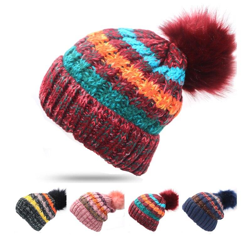 1pcs Fashion Winter Hat   Skullies     Beanies   Women Thicked Warm Knitted Hat   Beanie   Caps Cute Fur Ball Pompom Bonnet Gorros Invierno