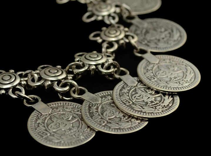 Çiçek Çocuk Gümüş Sikke Halhal. Ayarlanabilir El Yapımı çiçek tasarım Boho Çingene Beachy Ethnichwomen anlkets