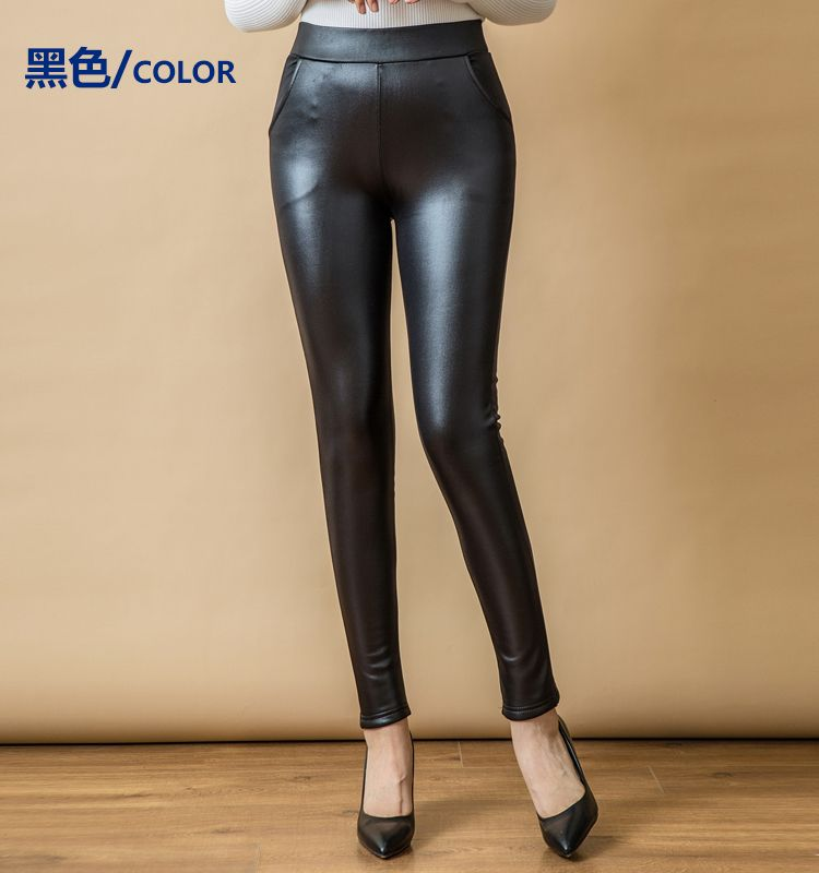 WAEOLSA Women Black PU Leather Leggings Thicken Fleece Legging Woman Slim Fit Warm Pant Winter Autumn Elastic Waist Leggins Mujer (6)