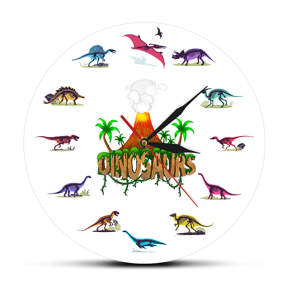 Dino Skeletons Colorful Printed Acrylic Wall Clock Volcanic Eruption With Dinosaurs Fossils Nursery Decor Classroom Wall Clock