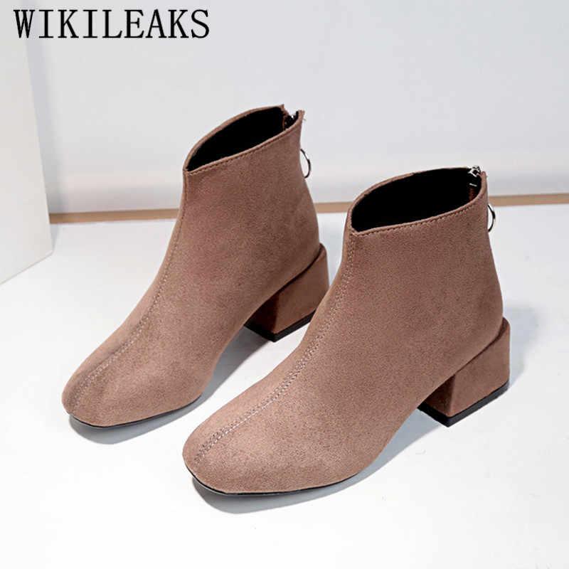 Botas de invierno zapatos de cuero de gamuza genuina botas de leopardo para Mujer Zapatos de tacón grueso botas de Mujer 2019