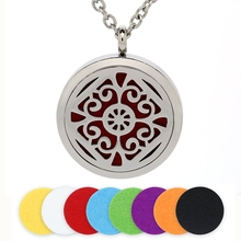 BOFEE Aromatherapy Diffuser Perfume Necklace Pendant Locket Felt Pads Gift 316L Stainless Steel Charm Essential Oil Jewelry 30mm цена и фото