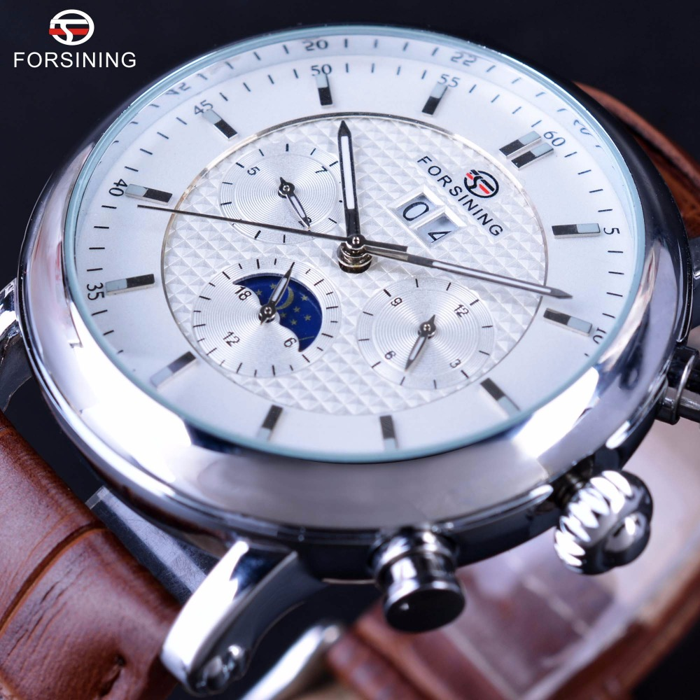 Forsining Fashion Tourbillion Design White Dial Silver Case Calendar Display Mens Watches Top Brand Luxury Automatic