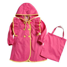 Children kid girl red yellow ruffle flounce princess fashion cute raincoat baby female rainwear poncho waterproof trench
