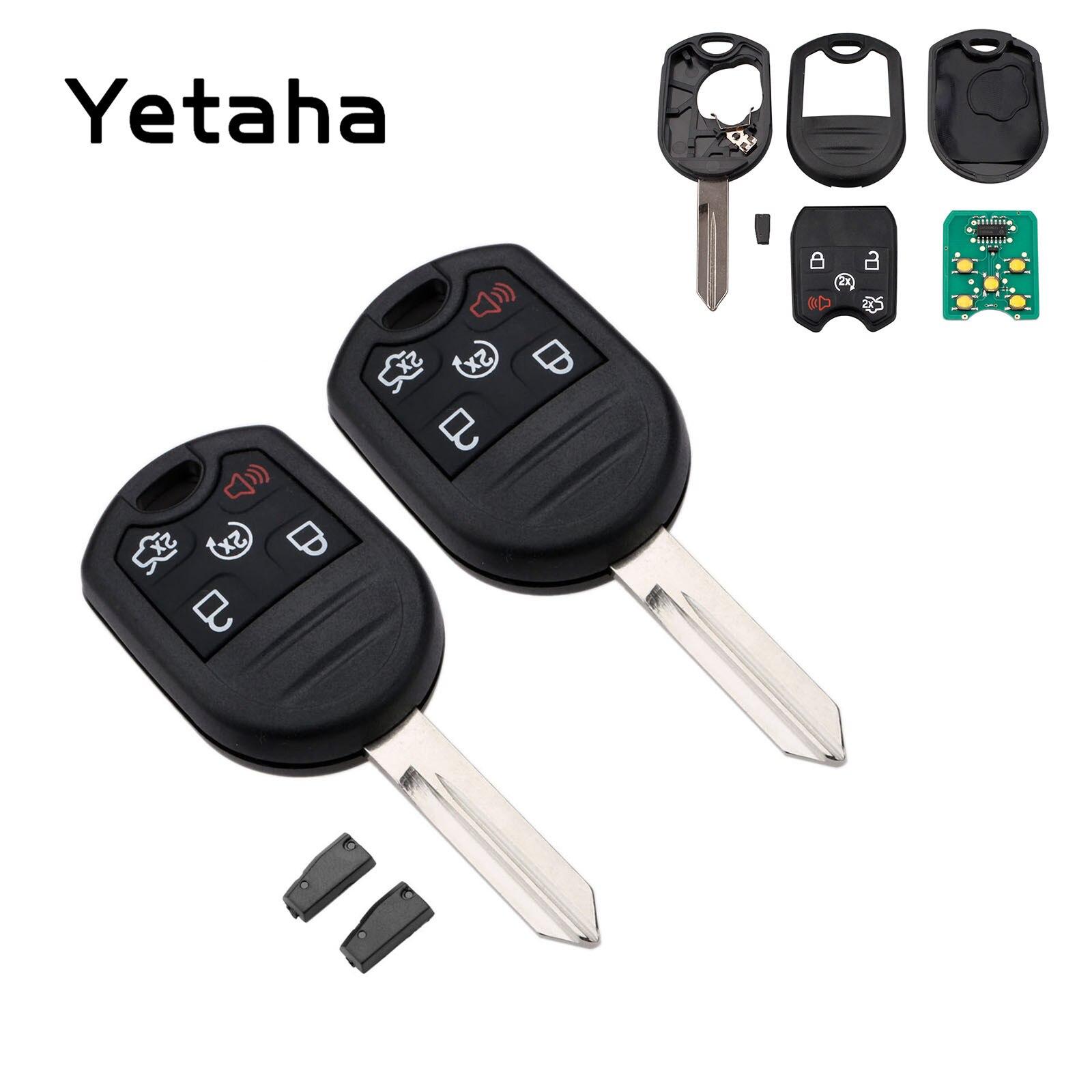 Yetaha 2 pièces 5 bouton 315 MHZ télécommande clé pour Ford Explorer Edge Flex Focus Fusion Lincoln MKS MKX 4D63 puce lame non coupée CWTWB1U793