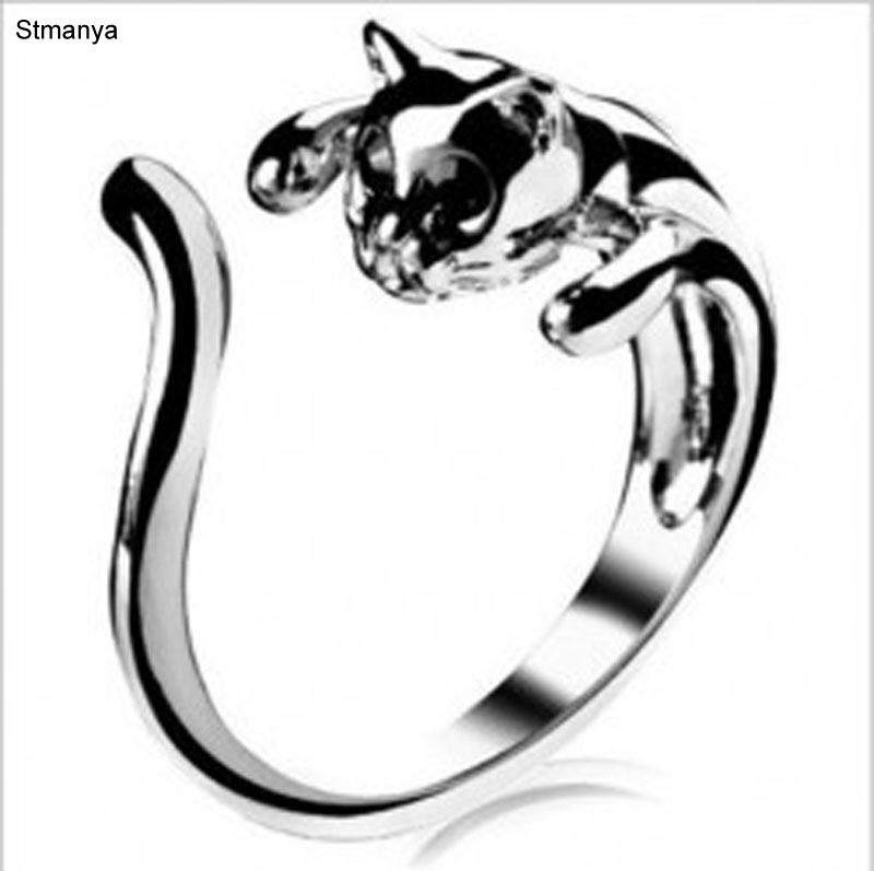 Crystal Eye Cat Ring- Vintage Silver Kitten Cat Ring Jewelry For Christmas Gift Women Rings 20013