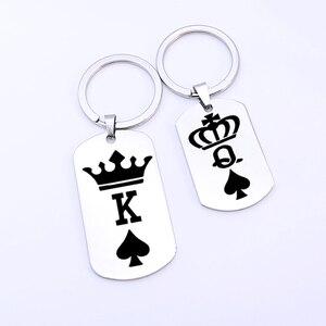 Titanium Dog Tag Engraved Crown King Queen Poker Spades K Q Pendant Keyring Couples Women Men Boyfriend Husband Gift Keychain(China)